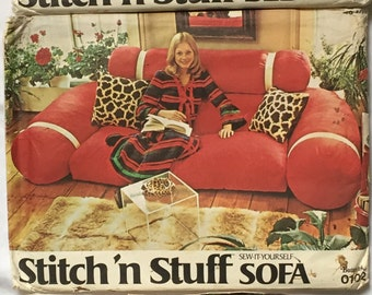 Vintage Butterick 1970's Stitch'n Stuff Sew-It-Yourself Chair, Sofa & Bed 0101, 0102, 0103 Uncut 3 patterns included