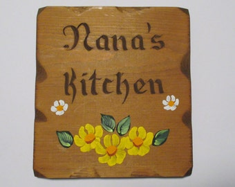 Vintage Nana's Kitchen Wood Wall Plaque - Hand Painted Tole Painting Wall Hanging Shabby Farmhouse Rustic Lodge Decor Folk Art
