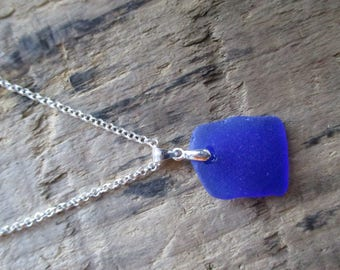 California Cobalt Blue Sea Glass Necklace = Beach Glass Necklace