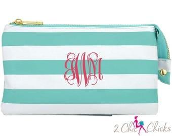 Striped Crossbody Purse, monogram clutch, monogram purse, bridesmaids gift, monogram wristlet, Preppy Stripes