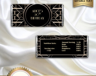 Great Gatsby Art Deco Candy Bar Wrappers, Birthday Candy Wrapper, Black and Gold - Digital File - EDITABLE text - DOWNLOAD Instantly