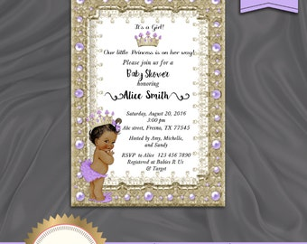 Printable Princess Baby Shower Invitation, Little Princess, Baby Girl, Royal Baby Shower, African American, Purple Gold White, Digital file