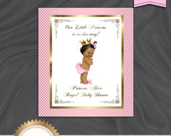 Printable Welcome Baby Sign or Backdrop, It's a Girl, Little Princess Baby Shower, Royal Baby Shower, Poster, Pink Gold - Digital File, BS13