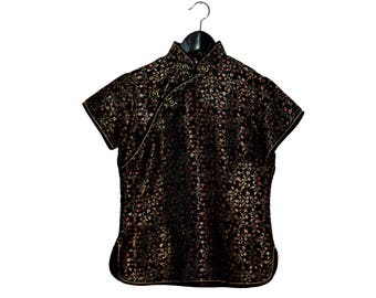 Chinese black silk top with red and golden flowers short sleeves mao neck - vintage clothing