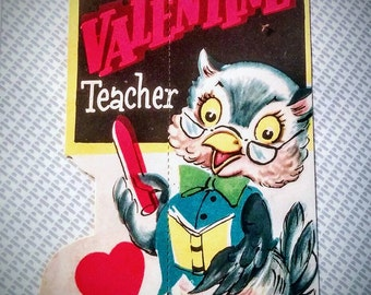 Unused 1950's Teacher  Valentine's Day Card-New Old Stock