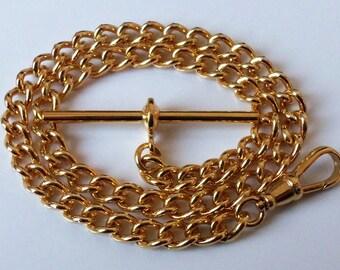 Gold Plated Albert Pocket Watch Chain.