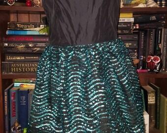 Amazing vintage 80s goth prom formal taffeta & metallic bubble peplum dress