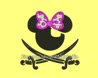 Minnie Mouse Pirate Embroidery Design - 5 Sizes - INSTANT DOWNLOAD