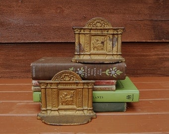 Pillared Bookends, Cast Iron Bookends, Women at Desk Bookends, Greek Revival Library Bookends