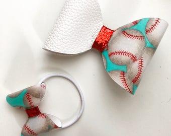 Baseball large bow hair clip and small bow hair tie
