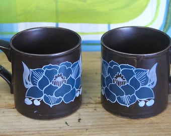 Vintage 1970's Kiln Craft Staffordshire Pottery cups  x 2