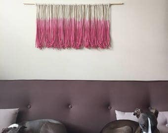 Ombré dip dyed pink macrame wall hanging