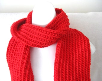 Red Knit Scarf, Rib Knit, Extra Long 90 inches, Womans Scarf, Mans Scarf, Plain Red Scarf