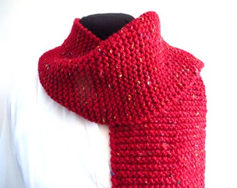 Red Knitted Scarf, Hand Knit Wool Blend Tweed, 68 inches,  Mens Scarf, Womens Scarf