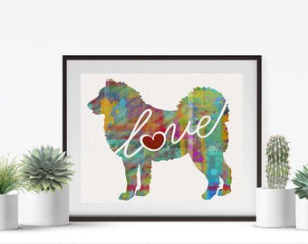 Alaskan Malamute Love - A Colorful Watercolor Print for Dog Lovers - Dog Breed Gift - Can Be Personalized With Name - Pet Memorial Gift