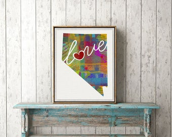 Nevada Love - NV - A Colorful Watercolor Style Wall Art Hanging & State Map Artwork Print - College, Moving, Engagement and Shower Gift