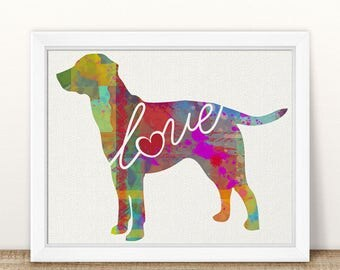 Lab / Labrador Dog Love - A Colorful, Bright & Whimsical Watercolor Print Home Decor Gift - Can Be Personalized with Name (+ More Breeds)