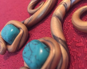 Gold-Wrapped Turquoise Gauged Earrings- 2g