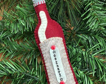 Wool Felt Chianti Wine Bottle Ornament Hanger