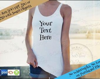 Woman Tank T-Shirt Mockup, T-Shirt Apparel Mock-Up, Styled Photography Mockup, T-Shirt Mock Photo, Mock Up for Design Display, Tank Display