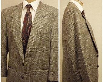 80s Vintage Yves Saint Laurent Black Check Sport Coat Size 40