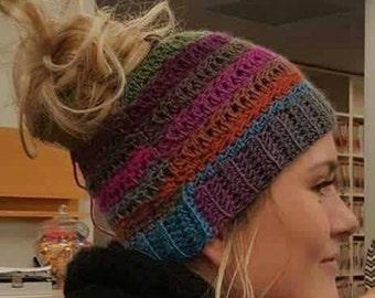 Crochet Messy Bun/ Ponytail Hat