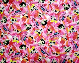 Cartoon Network Fabric Powerpuff Girl Oxford Cotton Japanese fabric, Pink - Half meter 50 cm
