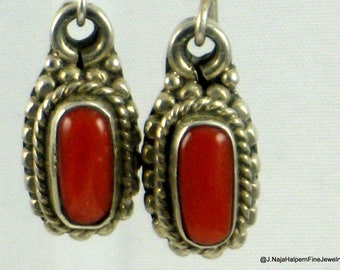 Red Coral Earrings, Silver Earrings, Native American, Indian Jewelry, NEW Never Worn, Southwest Vintage, Sterling Silver 925, Navajo Jewelry