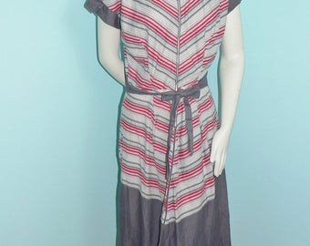 1940's Zipper Front Cotton House Dress, Gray and Red Stripe Housedress