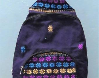 Purple  woven design cotton back pack