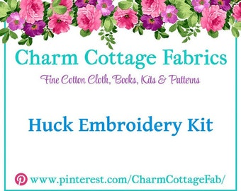 "KIT Blue Huck Towel ""Vintage Lace"" Huck Embroidery  Pattern by Swedish Weave Designs  Needle Set *Choose Your Color Embroidery Thread*"