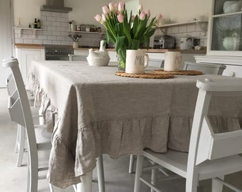 Tablecloth, Linen Tablecloth, Large tablecloth, Natural Tablecloth, Farmhouse Decor. Shabby Chic!