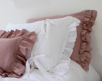 Linen Pillowcase, Ruffled Linen Pillowcase, Double Short Side ruffle with tie back, Linen Bedding. Pair. Shabby Chic