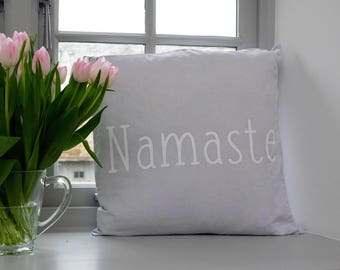 Pillow Cover, Throw Pillows, Slogan. Farmhouse Decor, Cushion Cover, Linen Pillow Cover, Slogan Throw Pillow. Namaste, Fixer Upper etc