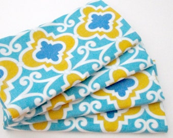 Large Cloth Napkins - Set of 4 - Bright Turquoise Blue Yellow Ogee Tile Pattern
