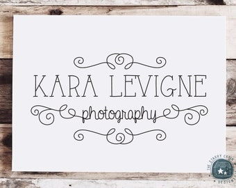 Hand Drawn Premade Logo Design - Customizable - Ornamental - Flourishes - Photography - Cursive - Typography - Lines - Swirl - Hand Lettered