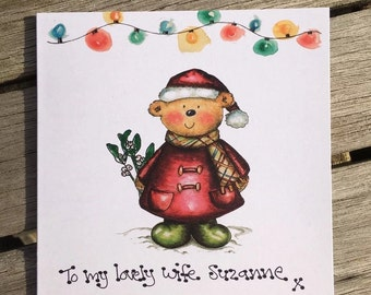 PERSONALISED Bear Christmas Card wife Merry Xmas Husband Wife Fiance Partner