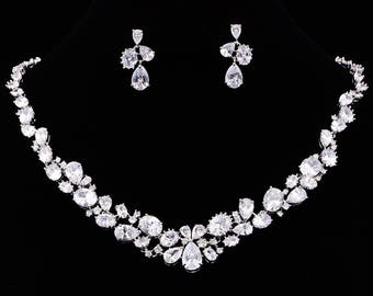 Bridal Jewelry Set Earrings Necklace Wedding Jewelry Classic Bridesmaid Gifts Bridal Set Anniversary Gift,KD80017