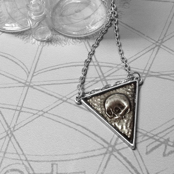 Skull Triangle : hand embossed repoussé metal pendant necklace