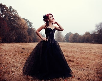 "Dress ""Filament"" // Black corset dress with thule skirt and made to measure corset."