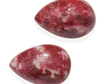 Thulite Pear Cut Cabochon Loose Gemstones Set of 2 1A Quality 9x6mm TGW 2.90 Cts.