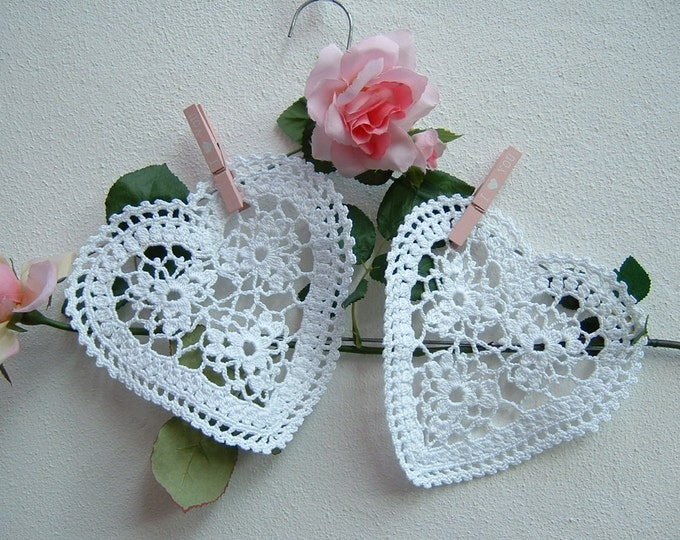 Featured listing image: Two heart-shaped white crochet lace. Crochet House in romantic style. Lacy hearts. Decoration in white cotton.