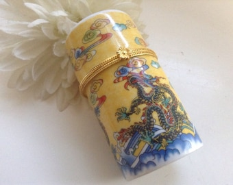WY Dragon Trinket Box Porcelain Cylinder Yellow Chinese Asian Container Ring Jar  Mother Gift