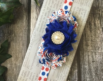 Fourth of July Headband , 4th of July Baby Outfits Headband , Red White & Blue Headband , Baby Girl , July 4th Headband , Fourth of July