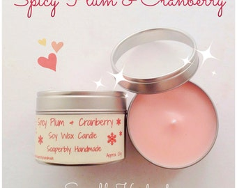 Spicy Plum & Cranberry, soy wax candle,