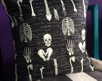 Gothic Skeleton/Skull Anatomical Cushion Cover (Glow in the Dark material!)