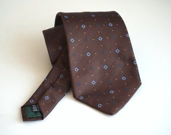 Italian vintage silk Necktie, brown mens tie made in Italy