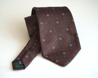 Italian vintage silk Necktie, brown mens tie made in Italy