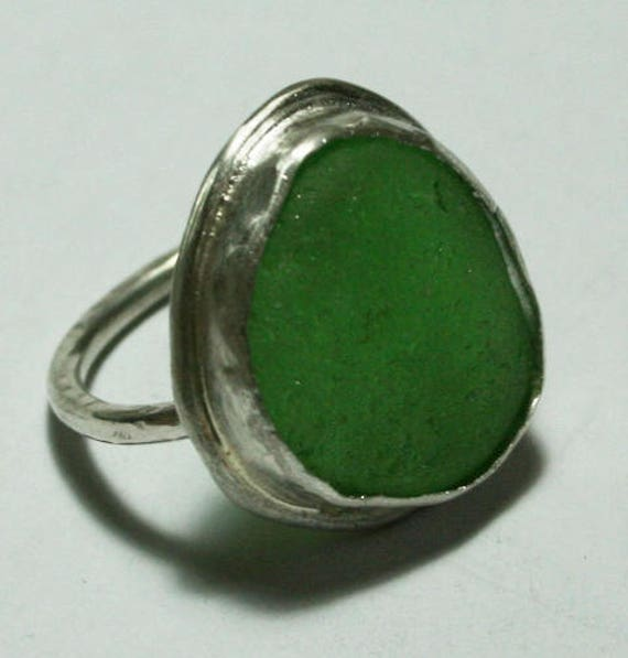 LARGE GREEN RING - Sea Glass and Sterling Silver Dress Ring