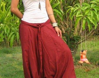 Harem Pants Women Baggy Pants Aladdin Yoga Pants Harem Baggy Pants Men Gypsy Pants Harem Boho Pants * HL - bordeaux
